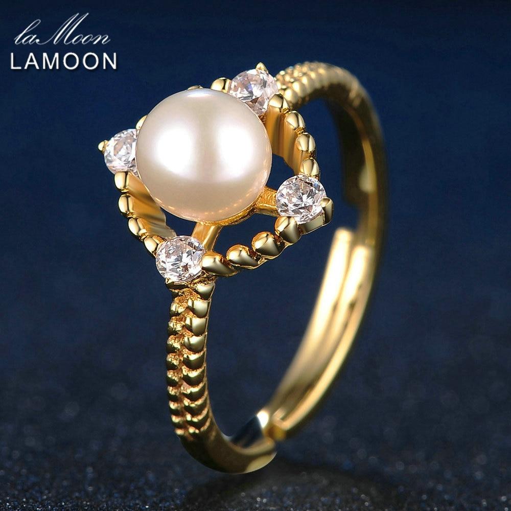 LAMOON módní šperky nastavitelné 6,5 mm přírodní sladkovodní perlové prsteny pro ženy 925 mincovní stříbro jemné šperky prsten RI028