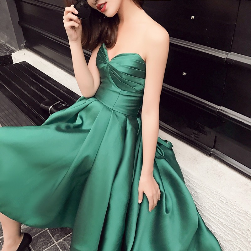 New Arrival Taffeta Asymmetrical Emerald Green Cocktail Dresses Sweetheart Sleeveless Robe De Cocktail Mi Longue 0103B 3
