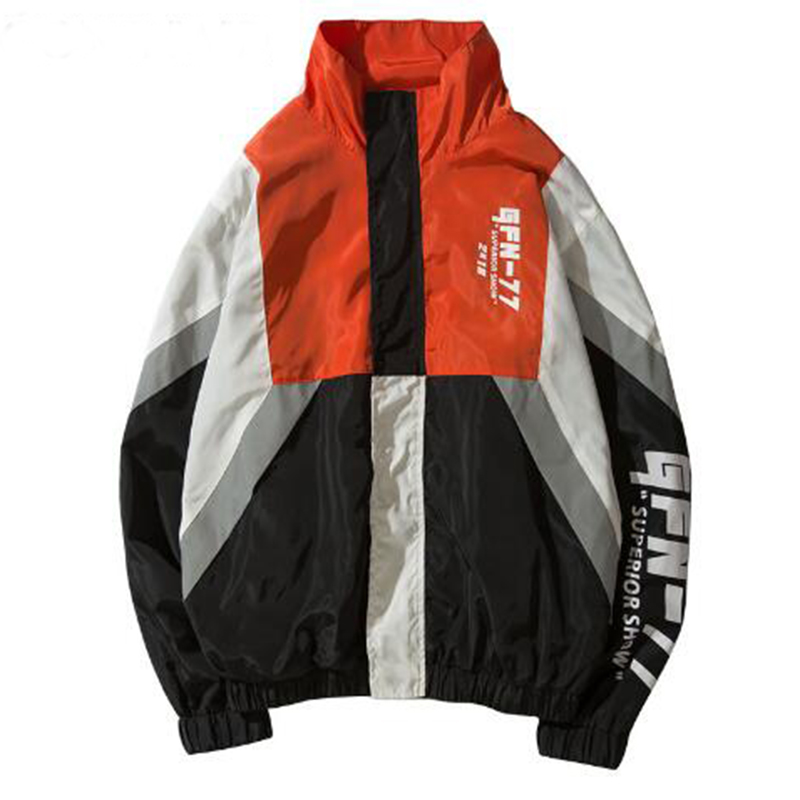 2018 Цвет блок куртки хип-хоп Для мужчин печатных лоскутное ветровка куртка пальто полный молнии уличная EM008