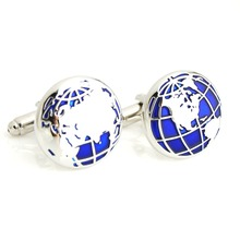 High Quality French Style Fashion Novelty For Men Blue World Map Designer Cuff Links Jewelry Accessories Gift For Men Wholesale