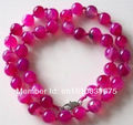 "10MM PINK CHALCEDONY AGATE BEADS NECKLACE 18""xu48"