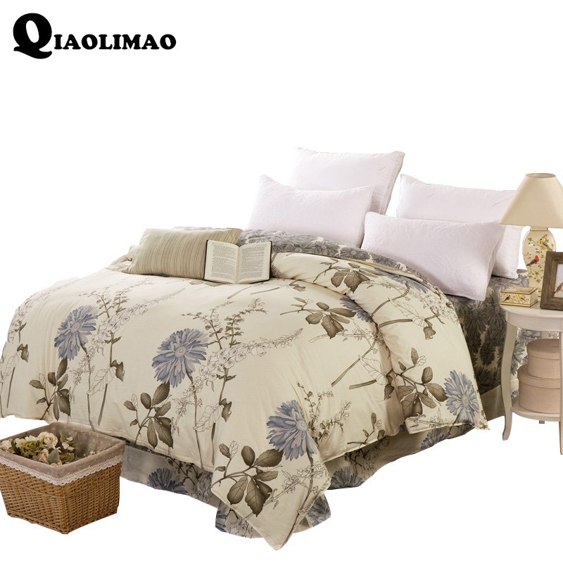 New 100% Cotton Duvet Cover Printed Colored Flowers Quilt Cover For Bed 220/240cm Twin Full King Queen Size Europe Style Bedding