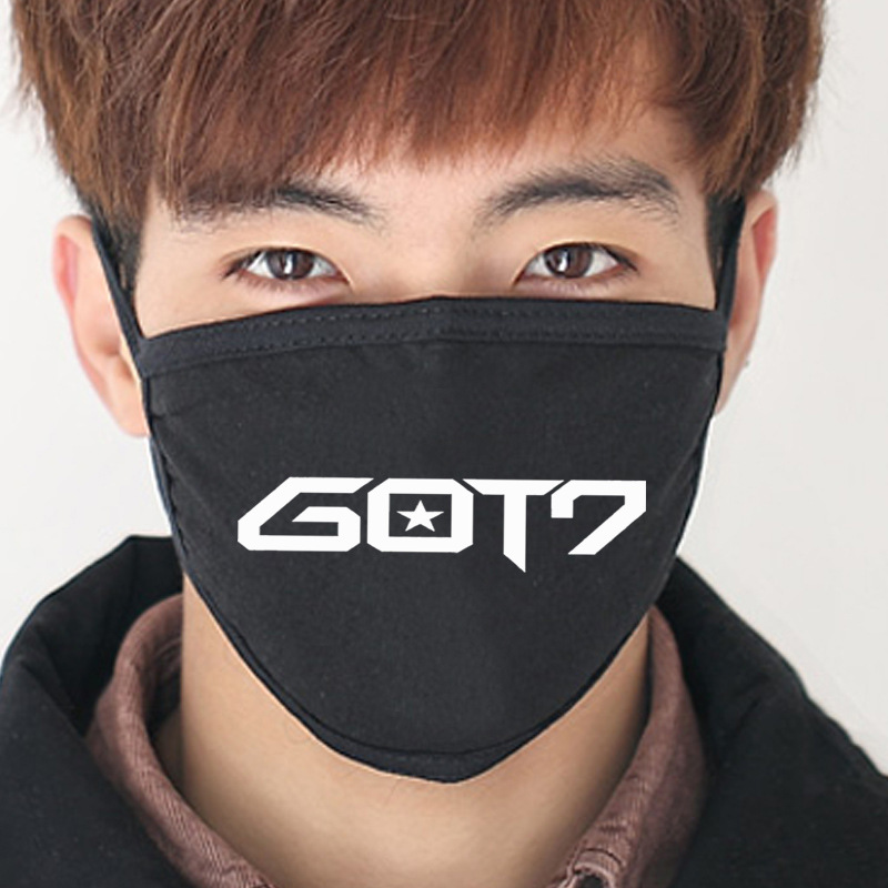 Anti Got7 2017 New Black Cotton Dust Mask Mouth Kpop Got7 Collective Album Jb K-pop Masks Mouth-muffle Got7 Face Respirator Face
