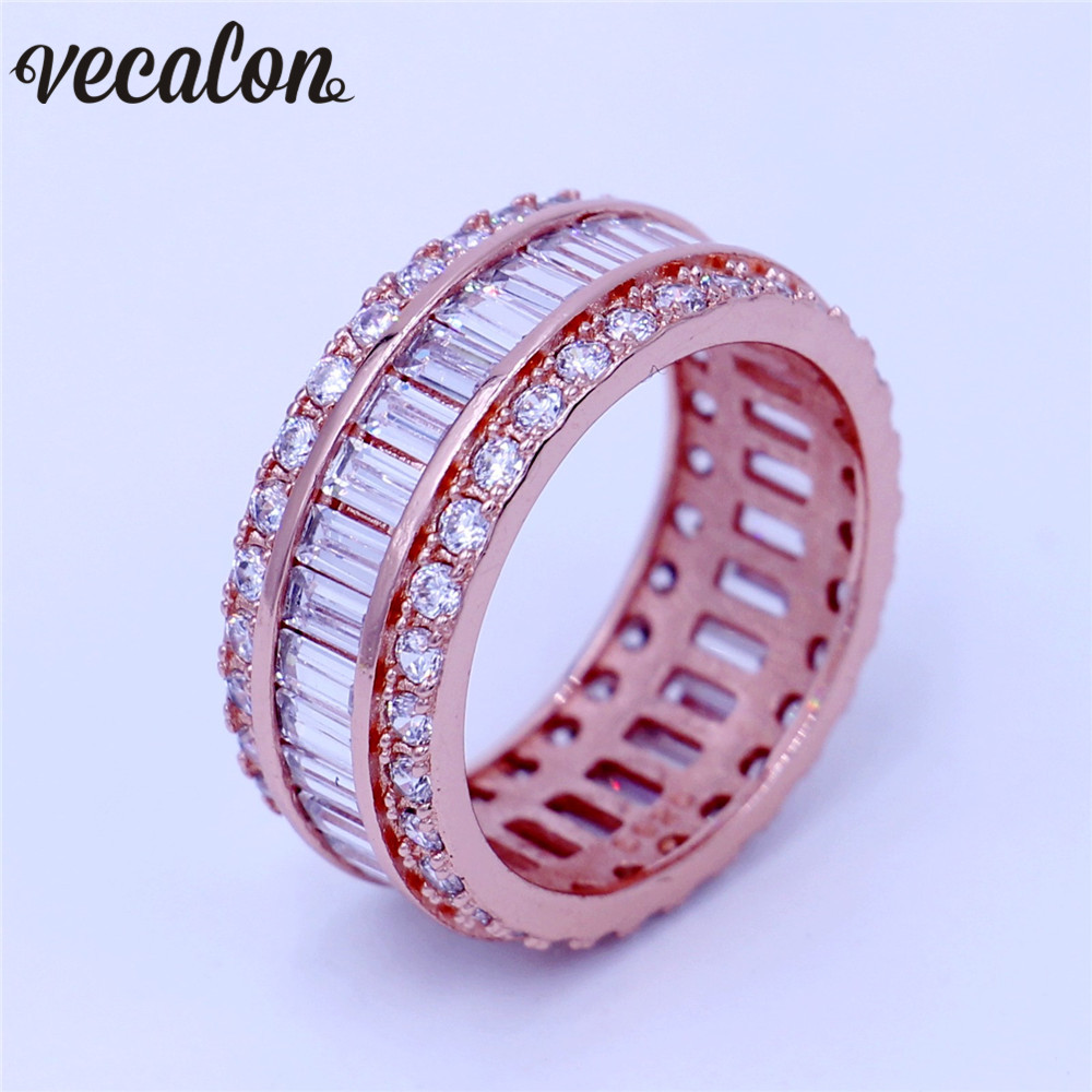 Vecalon Women Diamonique Jewelry Ring Princess Cut 15ct 5a Zircon Cz Rose  Gold Filled Engagement Wedding Band Ring For Women Men
