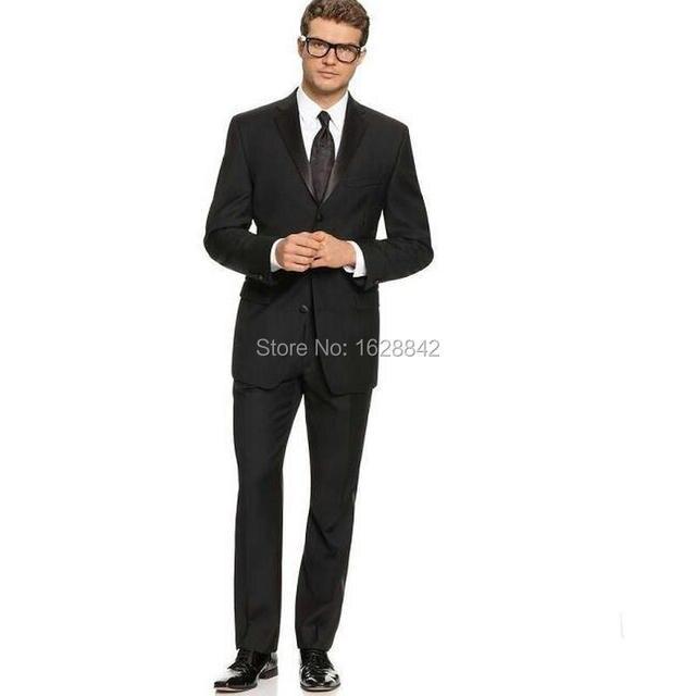 df8a37068bf De alta Calidad Negro Terno Slim Fit Novio Desgaste Por Encargo del Traje de  Boda De