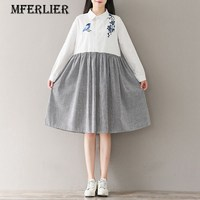 Mferlier Mori Girl Literature Autumn Dress Turn Down Collar Single Breasted Striped Patchwork Cotton And Linen
