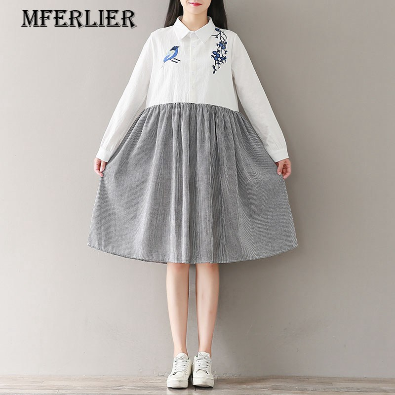 Mferlier Mori Girl Literature Spring Dress Turn Down Collar Single Breasted Striped Patchwork Women Embroidery Dress