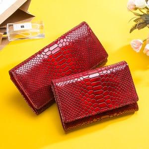 Image 5 - Luxus Marke Frauen Kupplung Brieftaschen Aus Echtem Leder Schlange Muster Druck Lange Geldbörse Weiblichen Handy Halter Tasche Dollar Preis