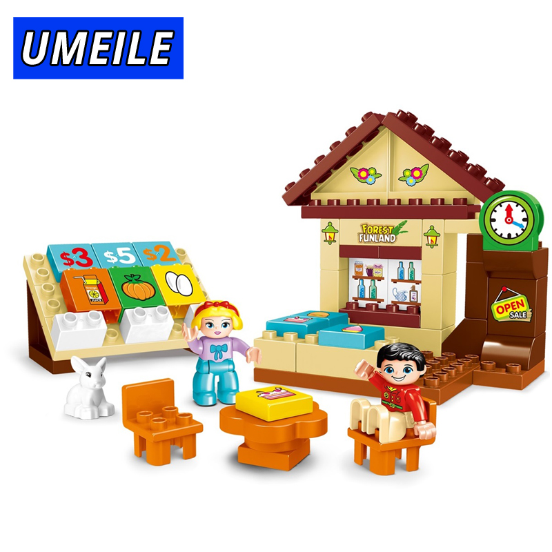 UMEILE 56pcs City House Friend Figure Building Block Diy Shop Brick Educational Baby Toys Compatible With Duplo Gift umeile brand farm life series large particles diy brick building big blocks kids education toy diy block compatible with duplo