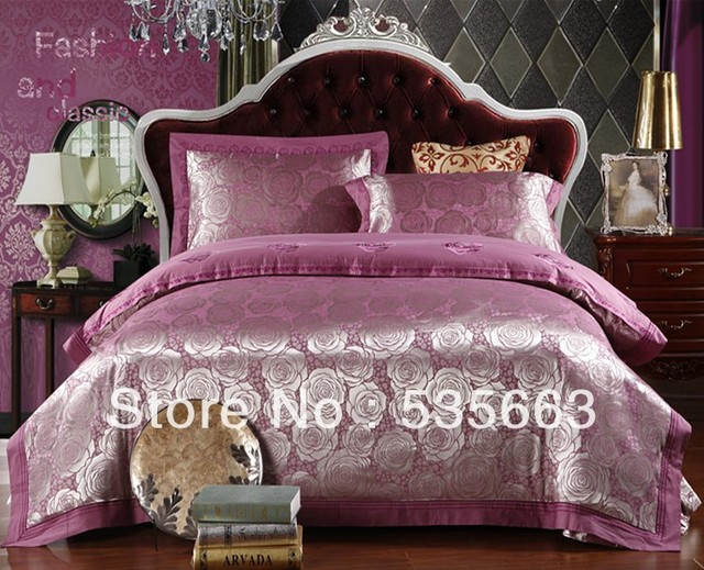 4pc european luxury satin bedding sets king queen size duvet cover sets pink