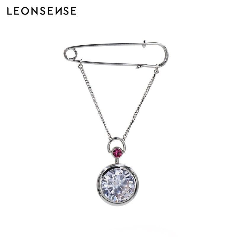 LEONSENSE grand cristal incrusté hommes poche design mode collier rond