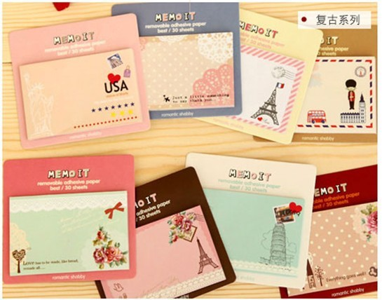 24pcs/lot NEW vintage travel Notepad sticky note Memo message post Removable adhesive paper Wholesale