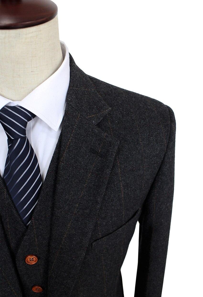 Wool Dark Grey Herringbone Tweed tailor slim fit wedding suits for ...