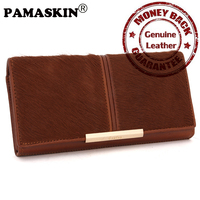 Luxury Horse Skin And Cowhide Top Quality Fashion Women Organizer Wallets Large Capacity Designer Retro Women