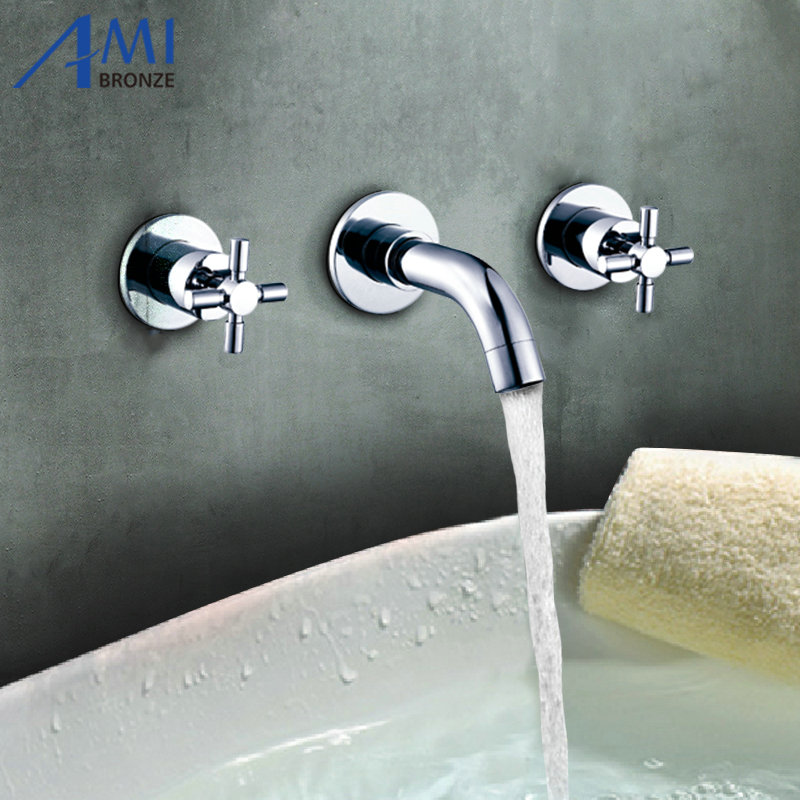 Wall Mounted Solid Brass Mixer Double Handle Bathroom BathTub Basin Faucet Mixing Tap Chrome Polished polished chrome handheld shower bathtub faucet set bathroom dual handle mixer taps wall mounted wtf901