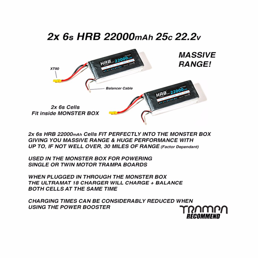 HRB 2piece 22.2V 22000mAh 25C Burst 50C Lipo battery for Helicopter Drone Ebike 2piece 100