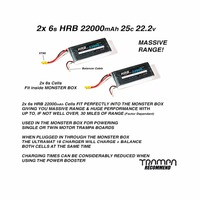 HRB 2piece 22.2V 22000mAh 25C Burst 50C Lipo battery for Helicopter Drone Ebike