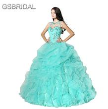 GSBRIDAL Light Blue Detachable Shoulder Strap Ruffle Ball Prom Dress