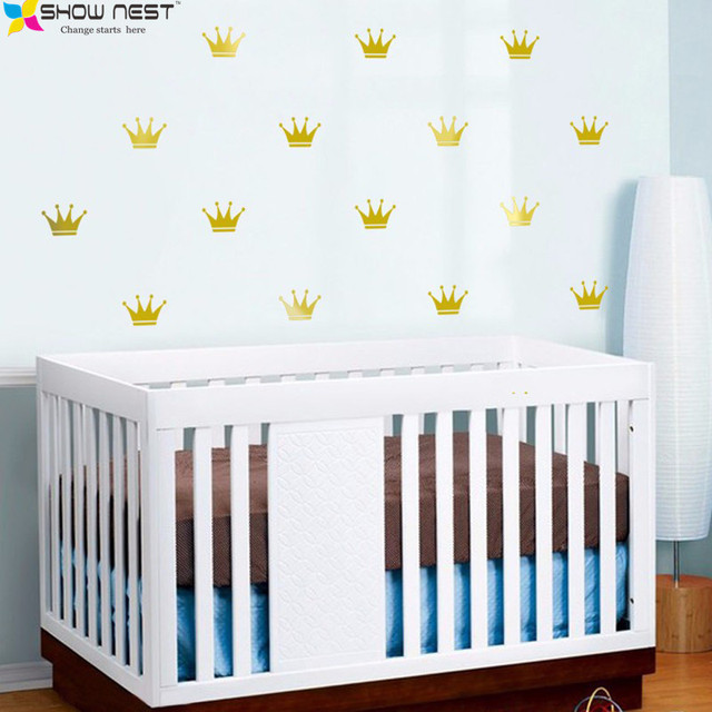 Gold Crown Wall Decal Vinyl Sticker   Cartoon Style Home Decor   Kids Wall  Sticker Art