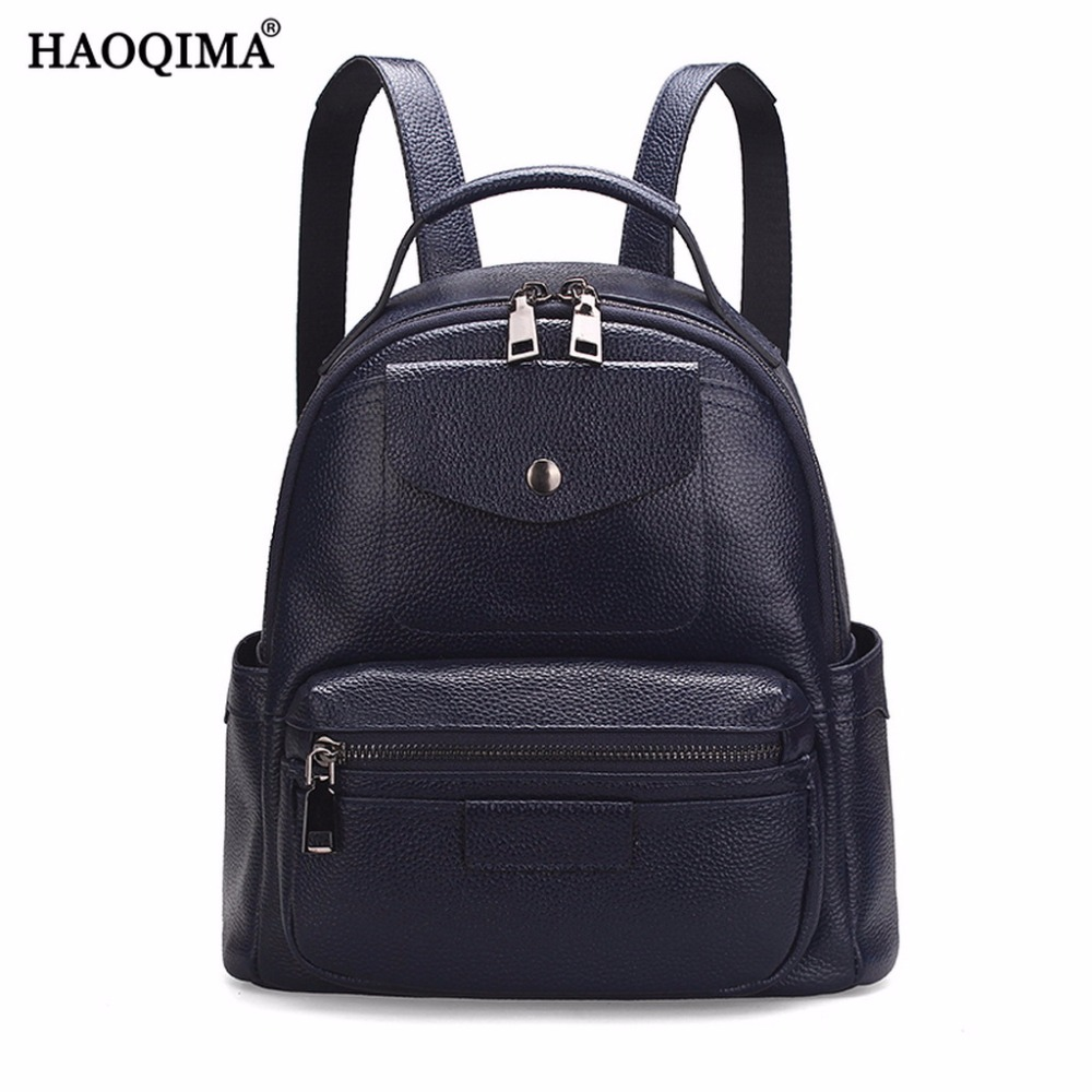 HAOQIMA 2018 Genuine Leather Real Cowhide Women Casual Shopping Ladies Small Female Backpack For Teenagers Girls hot sale women s backpack the oil wax of cowhide leather backpack women casual gentlewoman small bags genuine leather school bag
