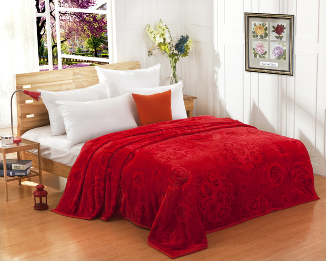 Red Blanket Coral Fleece Thin FL Velvet Autumn And Winter Thermal Bed Sheets  Double Towel Married