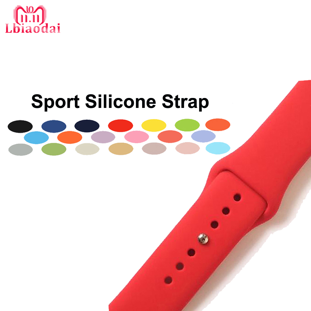 Sport Silicone Strap For correa Apple Watch band 42mm 38mm 40mm 44mm iwatch series 4/3/2/1 Watchband bracelet wrist soft belt for apple watch band 4 44mm 40mm leather strap correa 42mm 38mm bracelet wrist watchband iwatch series 4 3 2 1 replacement belt