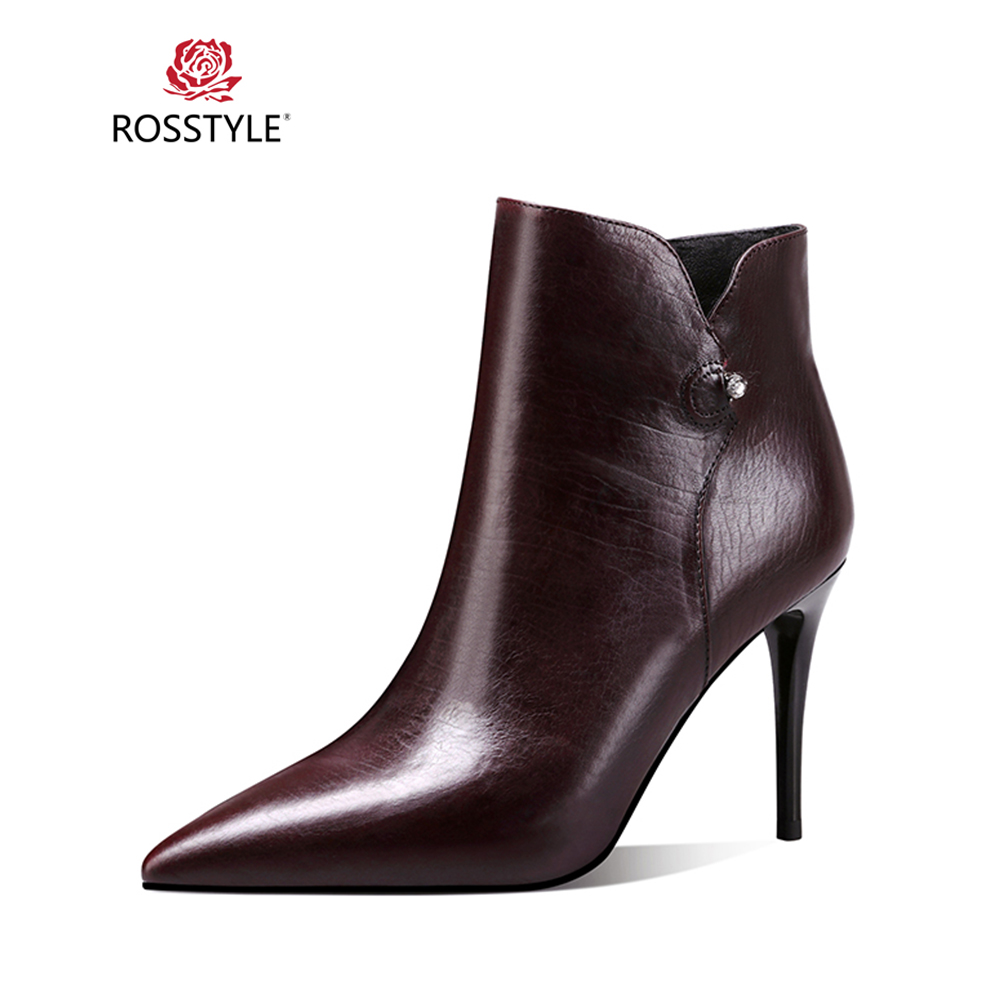 ROSSTYLE 2018 Winter Luxury Ankle Boot High Quality Sheepskin Sexy High Thin Heel Boot Elegant Pointed Toe Simple Style Boot B57ROSSTYLE 2018 Winter Luxury Ankle Boot High Quality Sheepskin Sexy High Thin Heel Boot Elegant Pointed Toe Simple Style Boot B57