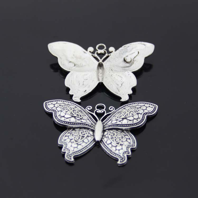 Free Shipping 2pieces/lot 71*54mm big Butterfly Charms DIY Retro Jewelry Braclet Necklace Antique silver pendant