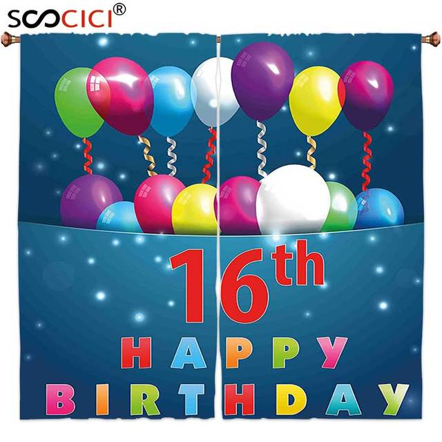 Window Curtains Treatments 2 Panels16th Birthday Decorations Sweet Sixteen Teenage Party Balloons Kitsch Celebration Image