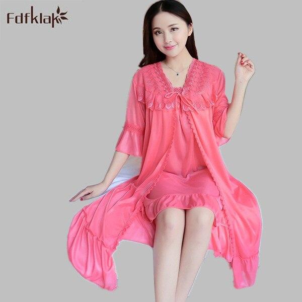 1d358bc66e 2017 New Silk Robes Gown Sets Sexy Lace Robe Women s Sleepwear Sleep Suits Spring  Summer Nightwear Women Bathrobes Pink E1083