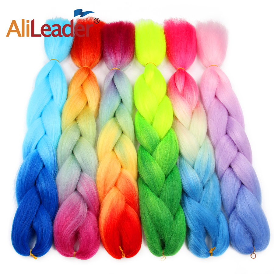 Alileader Tranças Jumbo Trança de Cabelo Sintético Ombre Roxo Azul Vermelho Penteados Tranças Extensões de Cabelo de Crochê 102 Cores