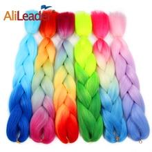 Alileader Jumbo Braids Ombre Синий Фиолетовый Красный Синтетический Плетение Волос Вязание Крючком