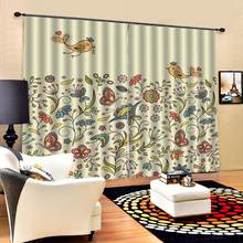 flower and birds curtains for girls room bedroom living room Blackout curtain(China)