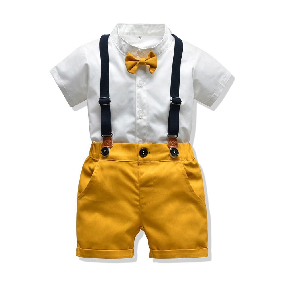 Baby Boy Gentleman Clothes Set Summer Suit For Toddler White Shirt With Bow Tie+Suspender Shorts Formal Newborn Boys Clothes