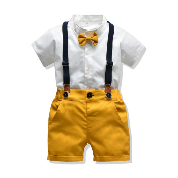 Baby Boy Gentleman Clothes Set Summer Suit For Toddler White Shirt with Bow Tie+Suspender Shorts Formal Newborn Boys Clothes acthink new boys summer formal 3pcs shirt shorts waistcoat suit children england style wedding suit with bowtie for boys zc033