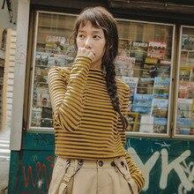INMAN Autumn Turtleneck Long Sleeve Cotton Fit Slim Striped T Shirt Women
