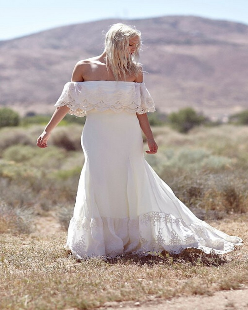 Off the shoulder lace chiffon boho wedding dress bohemian for Green beach wedding dresses