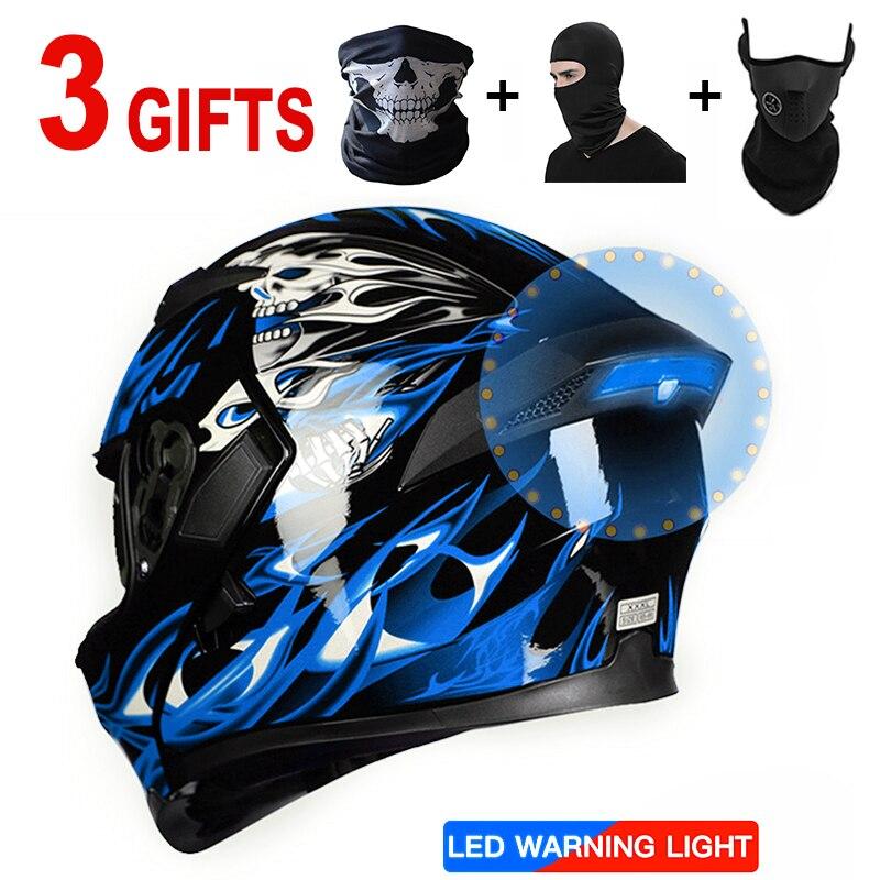 Светодиодный мотоциклетный шлем Ретро шлемы с защитными очками чоппер с открытым лицом точка 3 Балаклава маска с Bluetooth наушники крышка микр