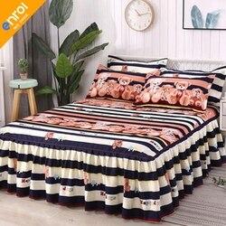 3 pçs floral cabido capa de folha graciosa colcha rendas lençol lençol quarto capa de cama saia casamento housewarming presente