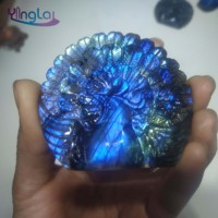 Natural crystal stone carvings rainbow labradorite peacoke wonderful colors labradorite rough stone healing