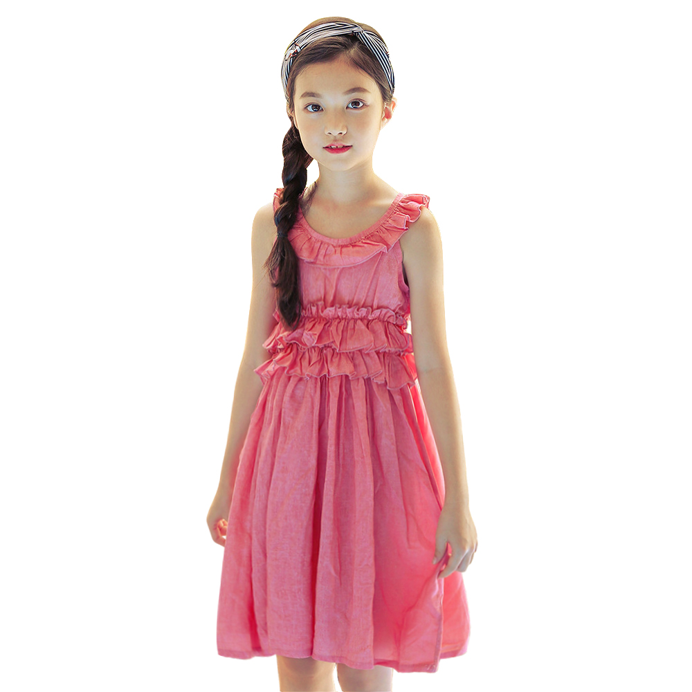 2018 new summer short sleeve cotton Splice solid a-line dress 6-16 Yrs big girls Leisure Korean beach dress teenage kids clothes new mens colors short sleeve cotton tshirt henry kissinger quote absence