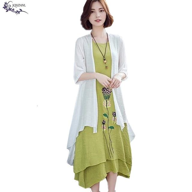 32398bad455 JQNZHNL Two pieces set Women Dress Spring Summer Plus size Cotton Linen Vest  Outside Phi Dress New Fashion Women Long Dress A347