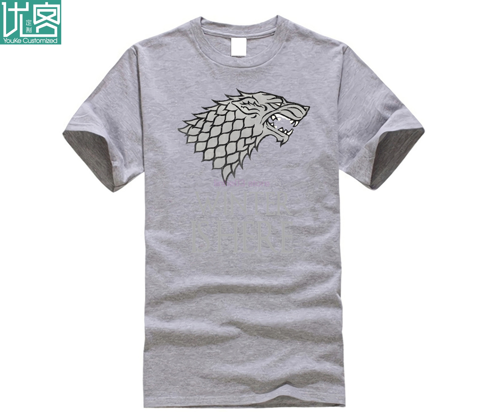 Game of Thrones Winter Is Here Stark Winterfell Wolf GOT Fantasy Black T Shirt High Quality Casual Printing Tee T Shirt in T Shirts from Men 39 s Clothing