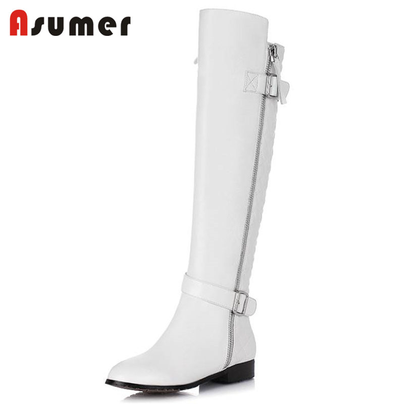 ASUMER 2018 HOT fashion cow leather+quality PU boots knee high boots women square heels round toe zipper boots  SIZE 33-40ASUMER 2018 HOT fashion cow leather+quality PU boots knee high boots women square heels round toe zipper boots  SIZE 33-40