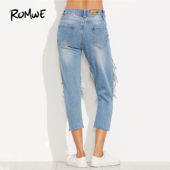 ROMWE Extreme Distressed Cropped Jeans Women Blue Cut Out Skinny Denim Pants  Autumn Mid Waist Sexy Button Fly Casual Jeans