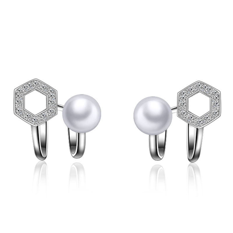 Exquisite 925 Sterling Silver Stud Earring Shiny Cz Diamond AAA Crystal With Freshwater Pearl Ear Accessories Jewelry