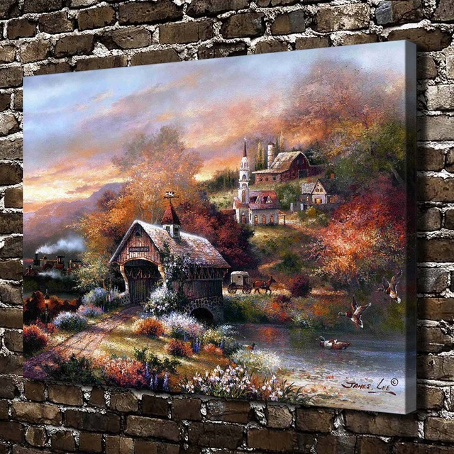 A1591 James Lee Old Mill Creek Landscape,HD Canvas Print Home decoration  Living Room Bedroom Wall pictures Art Scenery painting - A1591 James Lee Old Mill Creek Landscape,HD Canvas Print Home