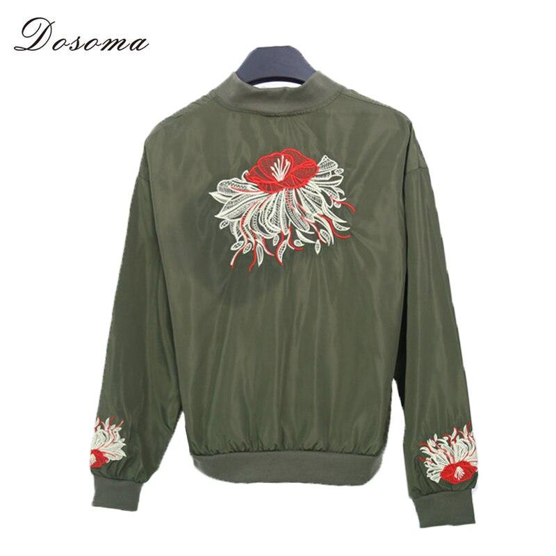 Dosoma bomber jacket women tops negro/verde del ejército corto floral bordado co