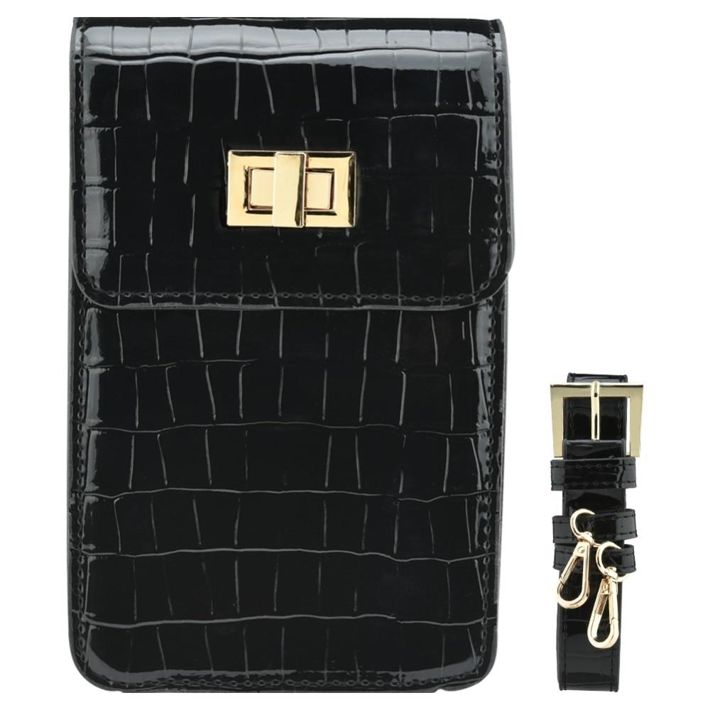 Fecilia Fashionable PU Leather Crossbody Bag for Men Women Adjustable Crocodile Grain Phone Cash Coin Single Shoulder Pouch