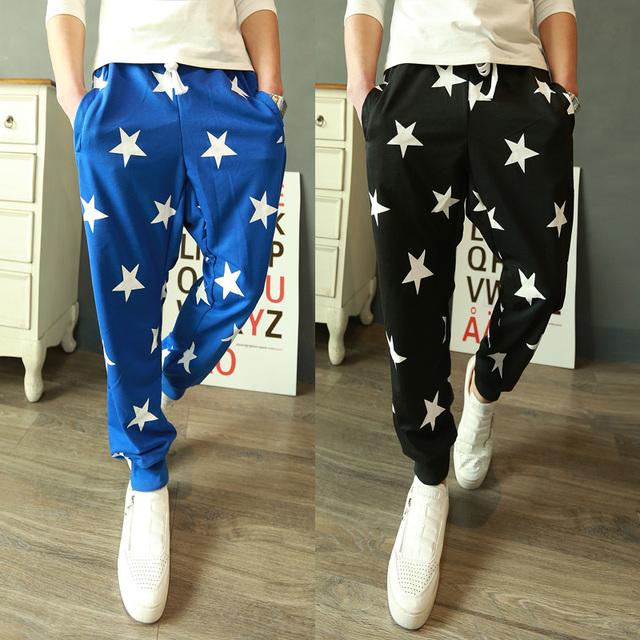 Nuevo 2017 fashion star print casual pantalones harem hombres bailando vestido flaco lápiz pantalones pantalones hombre ropa hombre/KK3